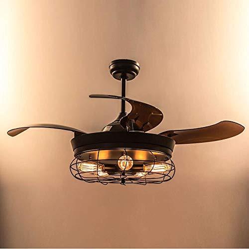 Araña de luces Unsichtbare Deckenventilator Schwarz Licht Retro Lampe Mit Fernbedienung E27 * 5/42 Zoll Kreative Industrie Kronleuchter, (marrón) -