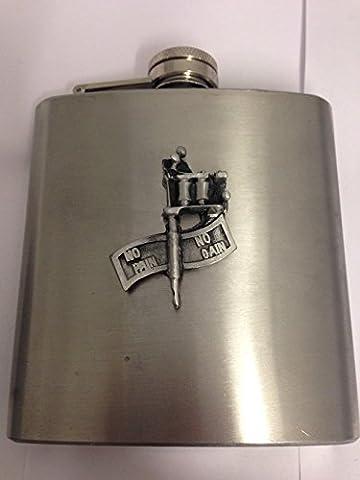 Sticker gain sans douleur sans pistolet sb-a112Anglais emblème sur une flasque 177ml en acier inoxydable Flasque en étain avec capuchon attaché