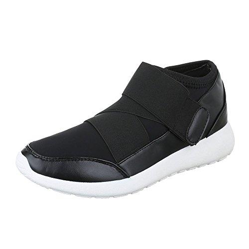 High-Top Sneaker Damen Schuhe High-Top Klettverschluß Klettverschluss Ital-Design Freizeitschuhe Schwarz