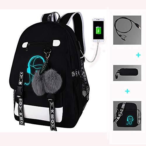FTPB Schultasche Leuchtend, Rucksack mit USB-Ladeanschluss, Wasserdichter Schulrucksack Computer-Tasche Laptop Unisex 16 Zoll College Daypack Women