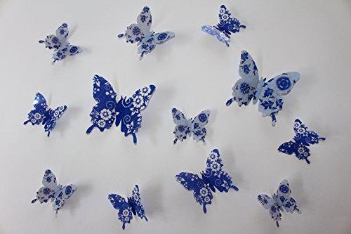 3D-Schmetterlinge-12er-Set-Dekoration-Wandtattoo-Wandsticker-Blau-Blumenmuster-G