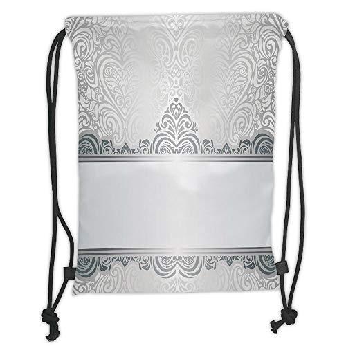 GONIESA Drawstring Sack Backpacks Bags,Silver,Vintage Rich Royal Flower Motifs Forms Heart Shapes Bridal Damask Design,Silver Bluegrey White Soft Satin,5 Liter Capacity,Adjustable String Closur