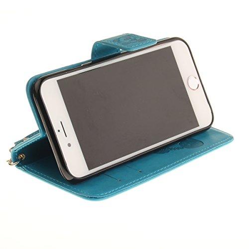 Custodia iPhone 7,SainCat Custodia in Pelle Cover per iPhone 7,Anti-Scratch Protettiva Caso Elegante Creativa Dipinto Pattern Design PU Leather Flip Ultra Slim Sottile Morbida Portafoglio Custodia Lib azzurro