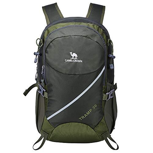 CAMEL CROWN 30L Leichter Wandern Rucksack Wasserdicht Outdoor Casual Camping Trekkingrucksack mit Regenschutz, Sports Daypack für Klettern Reiten Reisen Armee Grün