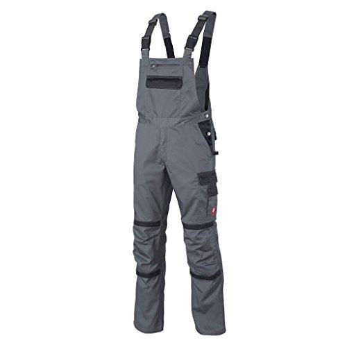 Krähe Arbeits-Latzhose Profession Pro Herren – angenehm & strapazierfähig, 11 Taschen, Leichter Stoff in grau Größe 60