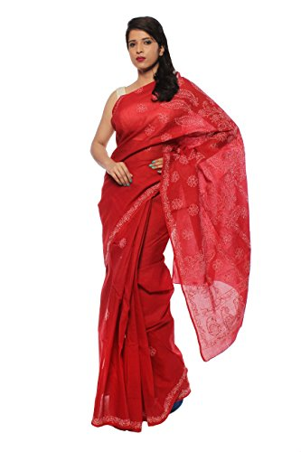 Bds Chikan Cotton Saree (Bds00157_Red)