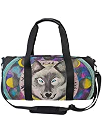 bef694defd0f MUOOUM Wolf Tribe Galaxy Moon Sports Gym Bag Travel Duffel Bag for Women  and Men Luggage