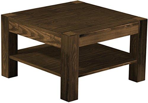 Brasilmöbel Couchtisch Rio Kanto 73x73 cm Eiche antik mit Ablage Wohnzimmertisch Holz Tisch Pinie Massivholz Stubentisch Beistelltisch Echtholz Größe und Farbe wählbar -