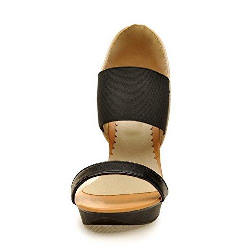VogueZone009 Damen Hoher Absatz Gemischte Farbe Ziehen Auf Offener Zehe Sandalen Mit Hohem Absatz Cremefarben