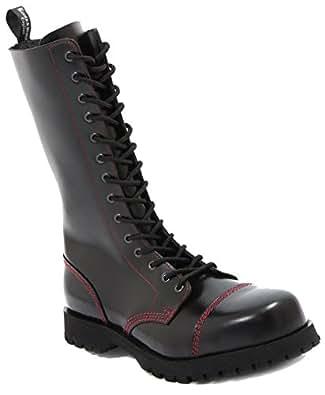 Boots & Braces–14Trous Noir avec Couture Rouge Bottes Rangers - Noir - Noir/Rouge,