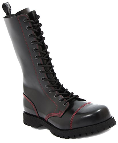 Boots & Braces - 14 Loch schwarz mit roter Naht, Stiefel Rangers Noir - Noir/rouge