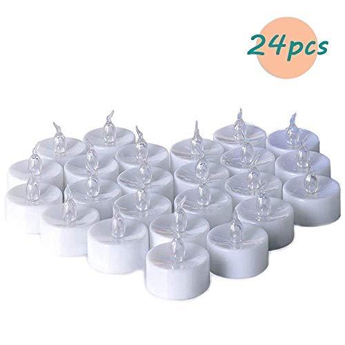 Candele led lumini batteria, qcoqce candele elettriche senza fiamma bianco caldo, 100 ore lunga durata della batteria per decorazione di casa camera natale partito matrimoni compleanno (24pz)