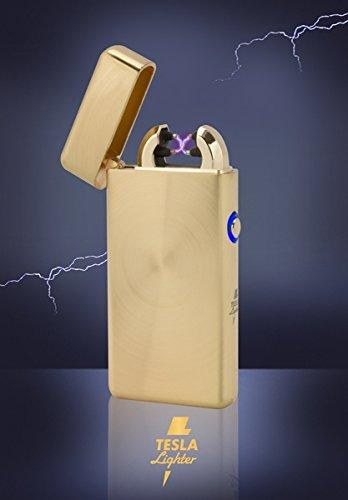 Tesla-Lighter T08 | Lichtbogen-Feuerzeug, elektronisches USB Feuerzeug, Double-Arc Lighter, wiederaufladbar, Gold geb&uumlrstet