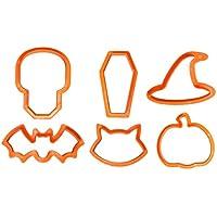 Pack of 6 Halloween Cookie Cutters - Skull, Coffin, Witch Hat, Bat, Cat, Pumpkin