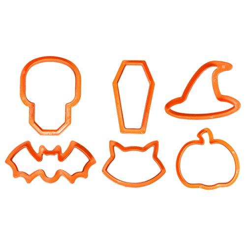Ausstechformen–Totenkopf, Sarg, Hexenhut, Fledermaus, Katze, Kürbis (Spooky Halloween-kuchen)
