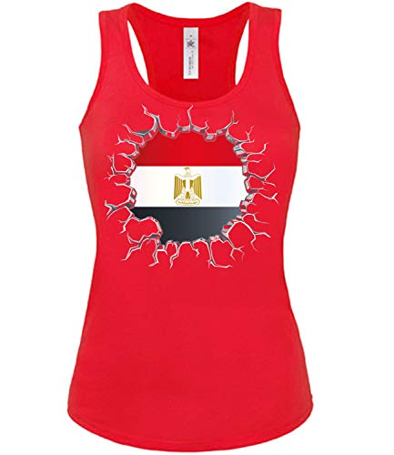 Ägypten Egypt Fan t Shirt Artikel 5697 Fuss Ball Tank Top für Mädchen WM 2022 Team Trikot Look Flagge Fahne Frauen Football Damen World Cup XL
