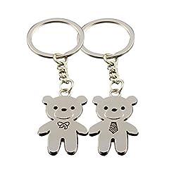 Idea Regalo - Bigboba 1paio coppia portachiavi con motivo orsetto portachiavi borsetta a Car Phone accessori 9.3*0.2cm