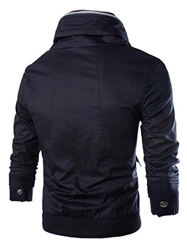 Jeansian Hommes Manteau Outerwear Sport Casual Men Hoodie Jacket Coat 9027 Black