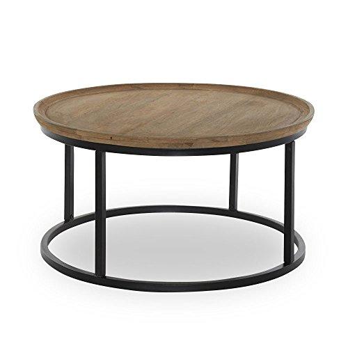 Couchtisch rund 90cm Holz Metall Tischplatte Massivholz braun gebeizt Mangoholz Eisengestell - Salvo