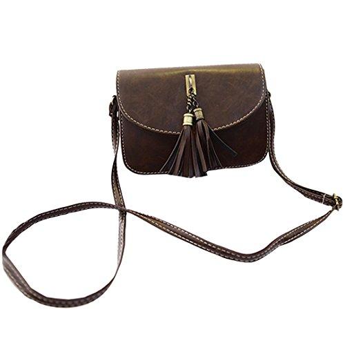 Milya Retro-Taschen Damen Handtasche Portemonnaie PU Leder Satchel Small Umhängetasche Mode-Design mit Quasten Sechs Farben sechs Arten von Auswahl
