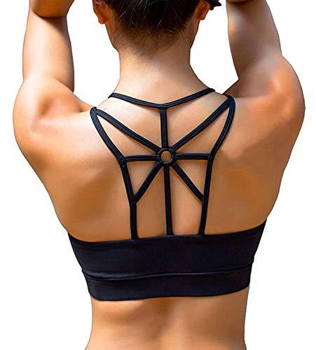 SHAPERX Damen Sport-BH, gepolstert, atmungsaktiv, hohe Stoßfestigkeit, Criss Cross Back Yoga BH - - Medium