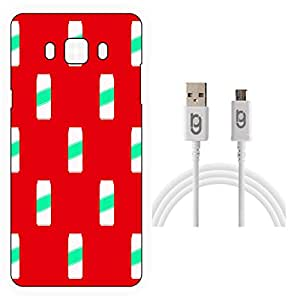 Designer Hard Back Case for Samsung Galaxy J7-6 (New 2016 Edition) with 1.5m Micro USB Cable
