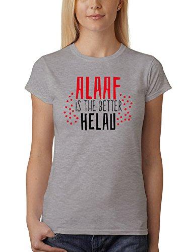 clothinx Damen T-Shirt Karneval Alaaf is The Better Helau Sports Grey