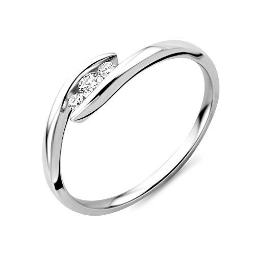Miore - Anillo de oro blanco con diamante (.1), talla M