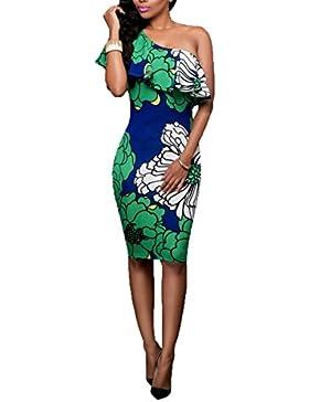 Impresión Floral Atractiva De Las Mujeres Hoja De Lotus Oblicuo Vestido Maxi Vestido Envuelto