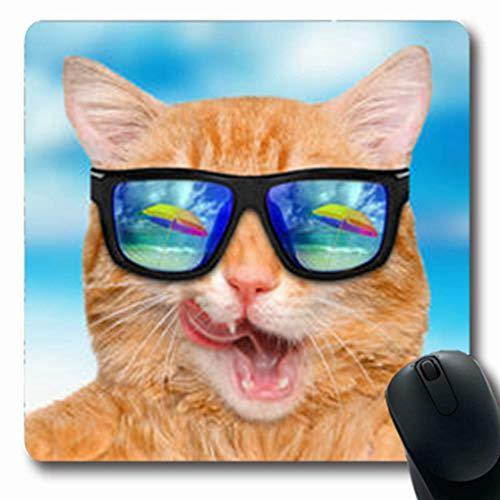 Luancrop Mousepads Entspannen Sie Sich die Katze, die Sonnenbrille-Reflexions-entspannende Seewild lebende Tiere trägt Lustige längliche Spiel-Mausunterlage rutschfeste Gummimatte