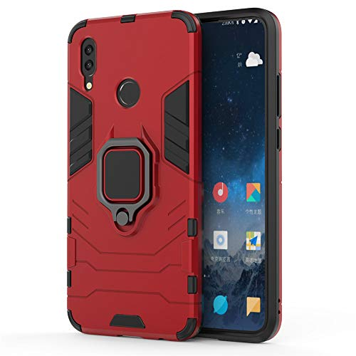 Huawei P Smart 2019 Hülle, CHcase Hybrid 2in1 TPU+PC Schutzhülle Rugged Armor with Magnetic Car Mount Case Cover Dual Layer Bumper Backcover mit Ständer für Huawei P Smart 2019 -Red