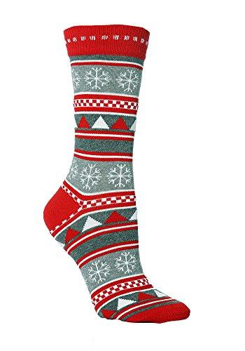 Sock Snob - Calze di Natale in 5 stili donne 37-42 eur (Grigio Fairisle)