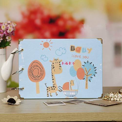 ZHAOXIANGXIANG Glückliche Kindheit Fotoalbum Kinder Geschenk Familie Speicher Aufzeichnen Klebrige Style Fotoalbum Scrapbooking Geburtstagsgeschenk Für Baby, Ein