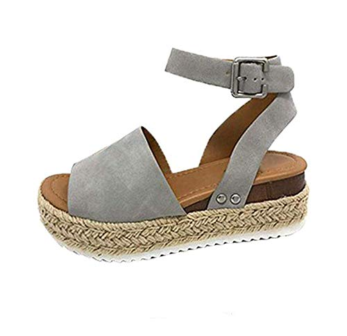 XLBHSH Women Platform Summer Wedge Sandals Flat Open Toe Espadrille 5 cm Heeled Faux Leather Ankle Strappy Buckle Sandals,07,37 Strappy Open Toe Wedges