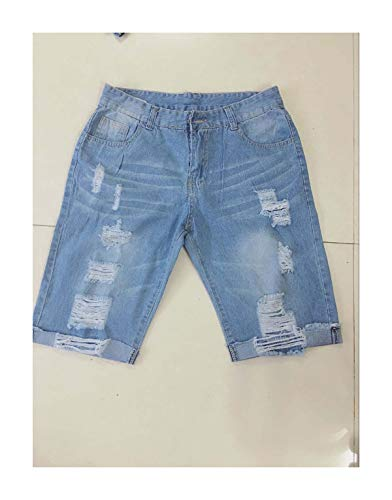QSAWAL& Summer Shorts Jeans Men Fear of Gold Cool Steet Biker Mens Jeans 2018 Skinny Rip Slim Stretch Denim Distress Frayed Short Jeans Sky Blue M - Button Fly Denim Bib