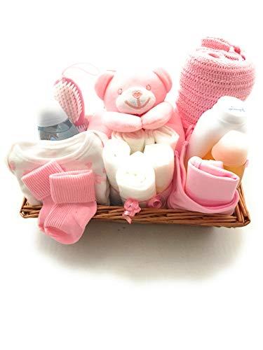 Panier cadeau de naissance - Couleur : rose