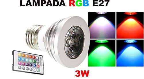 GRG® Lampadina a faretto LED RGB 3W attacco E27, luce a 16 colori e vari effetti, per interni, classe energetica A.