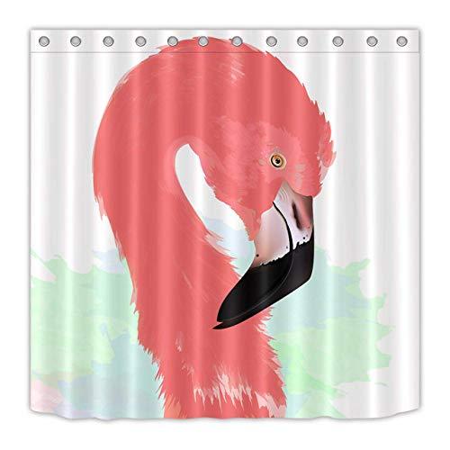 weiß blau grün Hintergrund rosa schöne Flamingo schwarz weiß Mund Duschvorhang dekorative wasserdichtes Gewebe Kunstdruck ()