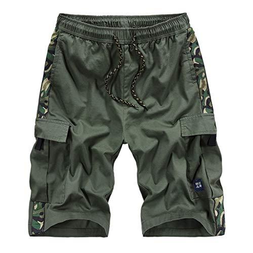 GreatestPAK Herren Im Freien Taschen Hosen Arbeitshosen Strand Baggy Shorts Hose Elastische Taille Sommer Shorts,Armeegrün,EU:XXXL(Tag:6XL) -