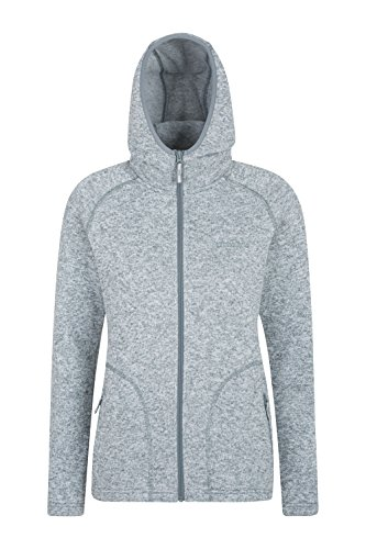 Mountain Warehouse Nevis Fleecejacke mit durchgehendem Reißverschluss für Damen - Leichter Mantel, Taschen, atmungsaktive Damenjacke, kompakt - Für Wandern, Reisen Grau DE 46 (EU 48)