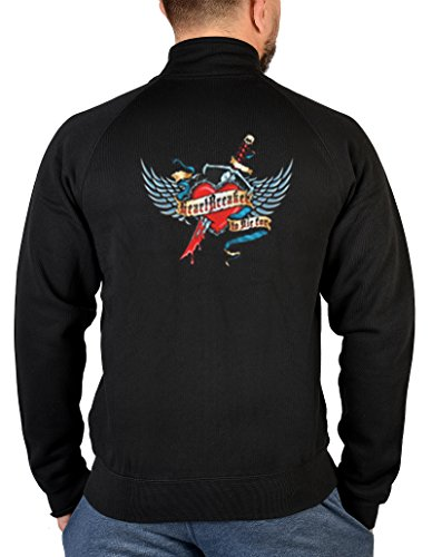 Pin up Girl Zip Sweater Choopers Motiv Zipshirt : Heart Breaker - bedruckter Herren Zip Sweater Größe XXL Farbe schwarz Heartbreaker Zip Hoodie