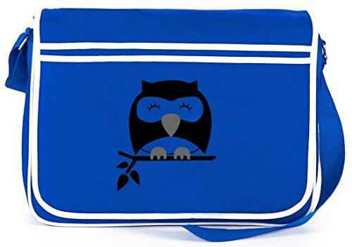 Shirtstreet24, Sleepy Owl, Eule Natur Retro Messenger Bag Kuriertasche Umhängetasche Royal Blau
