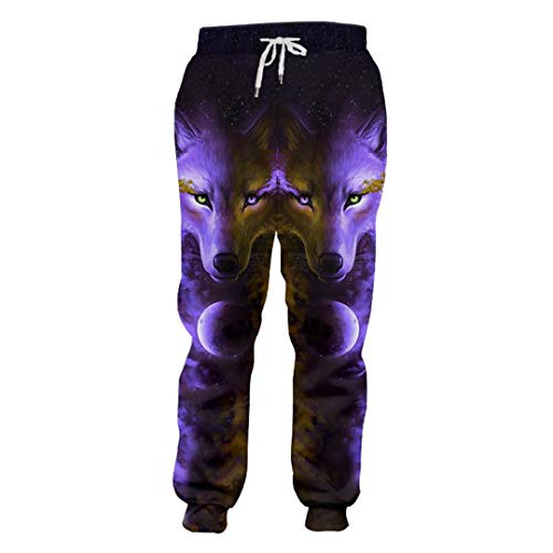 Frühling Herbst Unisex Casual Sweatpants gedruckt wütend Wolf 3D Sweat Pants Mann Bodybuilding Fitness Quick Dry Pants Angry Wolf S Aeropostale Capris