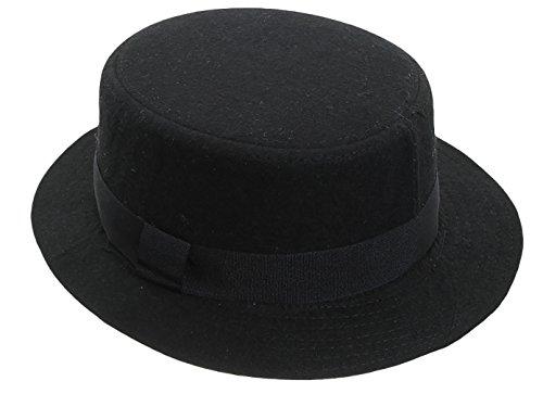 JTC Unisexe Chapeau D'hiver en Cachemire à Large Bord Rétro Eaves Plats Noir