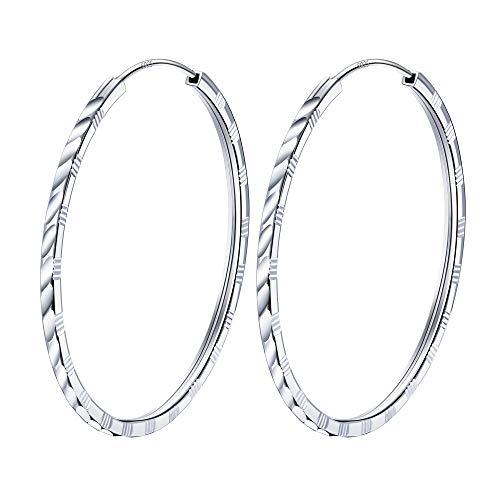 J.Endéar Creolen 925 Sterling Silber Damen,Groß 45mm Runde Endless Ohrringe,Geburtstag Geschenk für Frauen