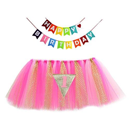 MagiDeal Baby Hochstuhl Tutu Rock Tischdecke/Tischdeko mit Tüll + Banner für Babyfeiern Geburtstage - ()