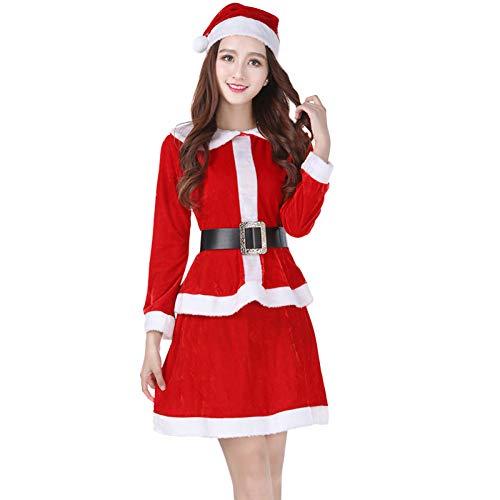 CVCCV Weihnachtskostüm cos Adult Dance kostüm Gold Samt Stoff für Frauen (rot)