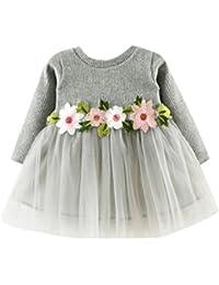 Amlaiworld Otoño invierno lindo bebé niña tutú floral de manga larga vestido de princesa 0-24 Mes (Tamaño:18-24Mes, Gris)