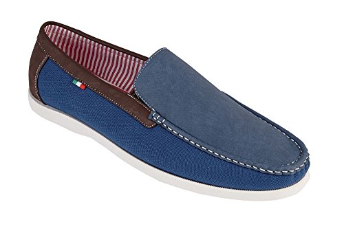 D555 Leinen/Veloursleder Mix Slip On Schuhe (Claude) in Marine Blau Marine