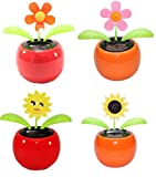 #7: EASY4BUY® Set of 4 Dancing Flowers Daisy in Red Pot Solar Toy Flowers Car Dashboard Office Desk Home Décor